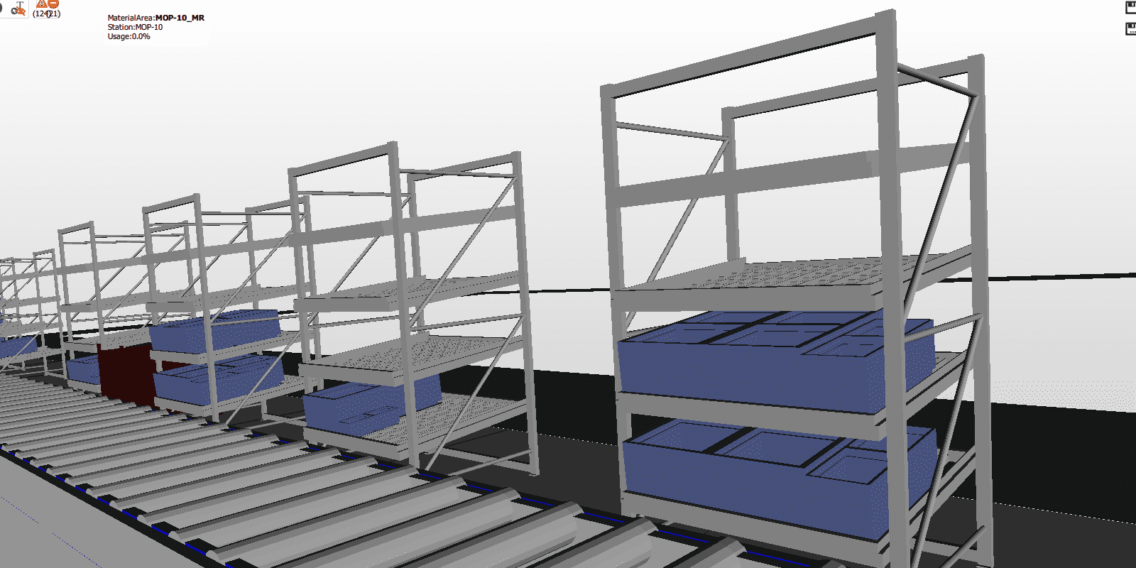 industrial shelf models in the ipolog software
